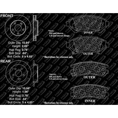 Max Brakes Front & Rear Elite Brake Kit [ E-Coated Slotted Drilled Rotors + Ceramic Pads ] KT030483 | Fits: 1999 99 Chevy Venture FWD Models w/ Rear Disc Brakes - image 7 de 8