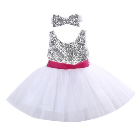 Baby Toddler Girl Silver Sequin Mesh Tutu Party Birthday Princess Dress Outfit](Baby Girl Princess Outfit)