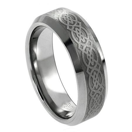 6mm - Beveled Edge Brushed Center with Celtic Design Tungsten Carbide Wedding Band Ring (6mm Design Band Ring)