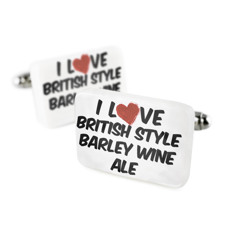Cufflinks I Love British Style Barley Wine Ale BeerPorcelain Ceramic NEONBLOND