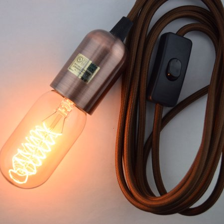 Fantado Modern Metal Copper Pendant Light Lamp Cord w/ Braided Cloth Cord, Switch, 11 FT by PaperLanternStore