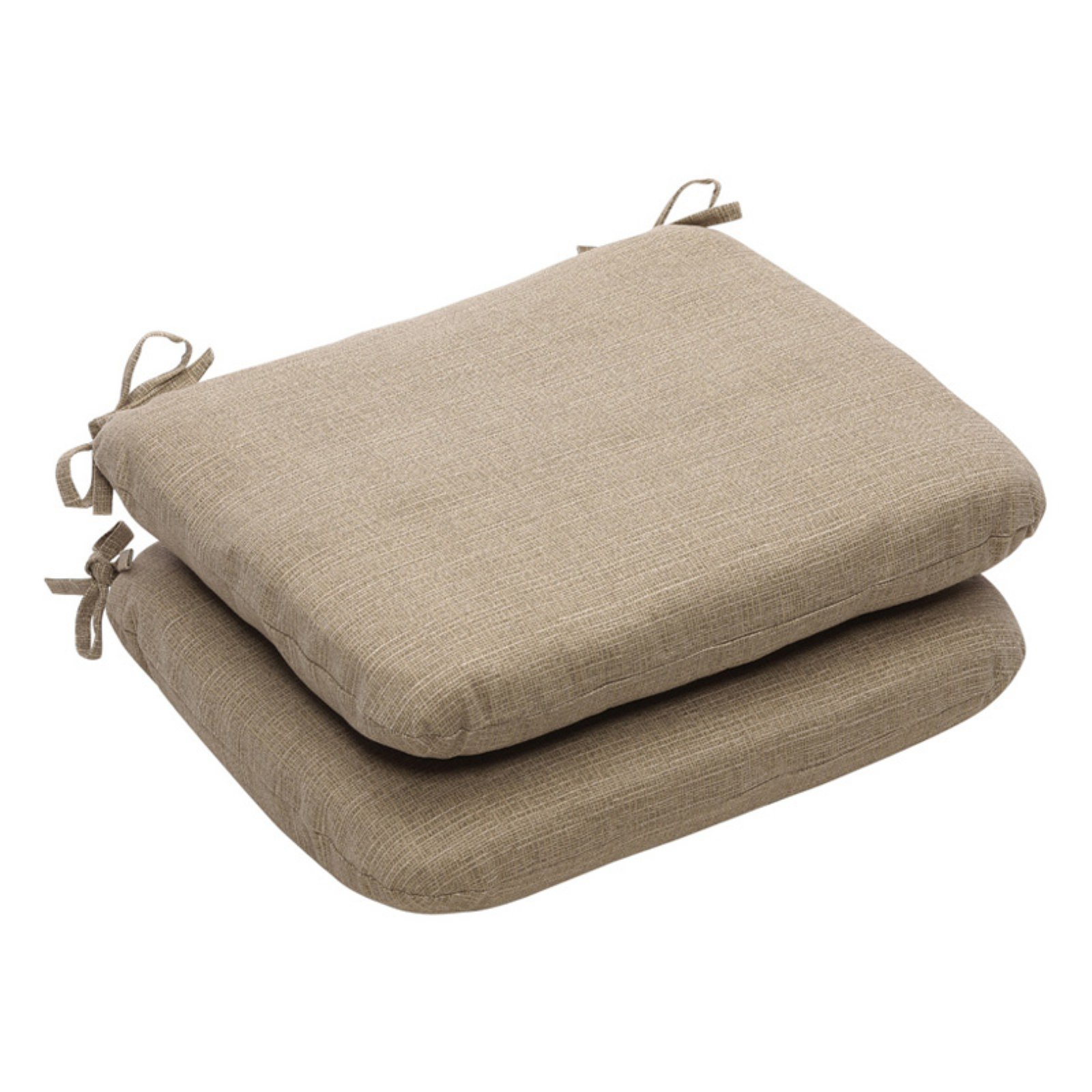 Pillow Perfect Outdoor Solid Seat Cushion with Ties - 18.5 x 15.5 x 3 in. - Set of 2