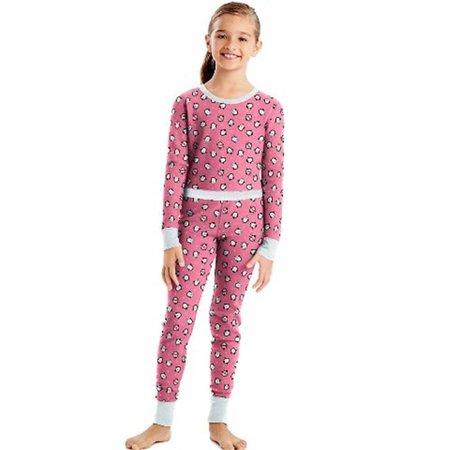 34600P X-Temp Girls Organic Cotton Printed Thermal Set, Penguins -