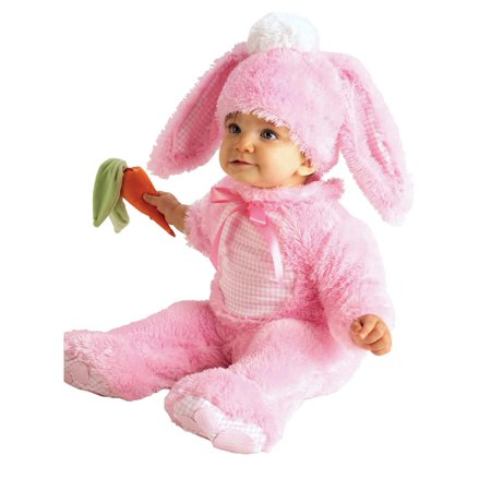 Infant Girls Plush Pink Baby Bunny Rabbit Costume With Jumpsuit & Headpiece - Bunny Costume Baby