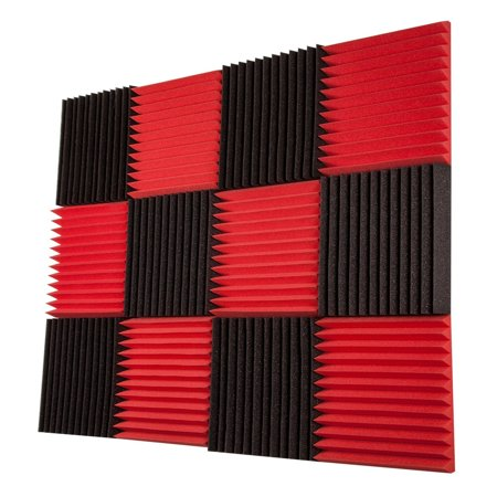 24 Red & Black Pack Acoustic Foam Tiles Wall Record Studio Sound Proof 12 x 12 x 1 inch Panels (Cheap Sound Foam)