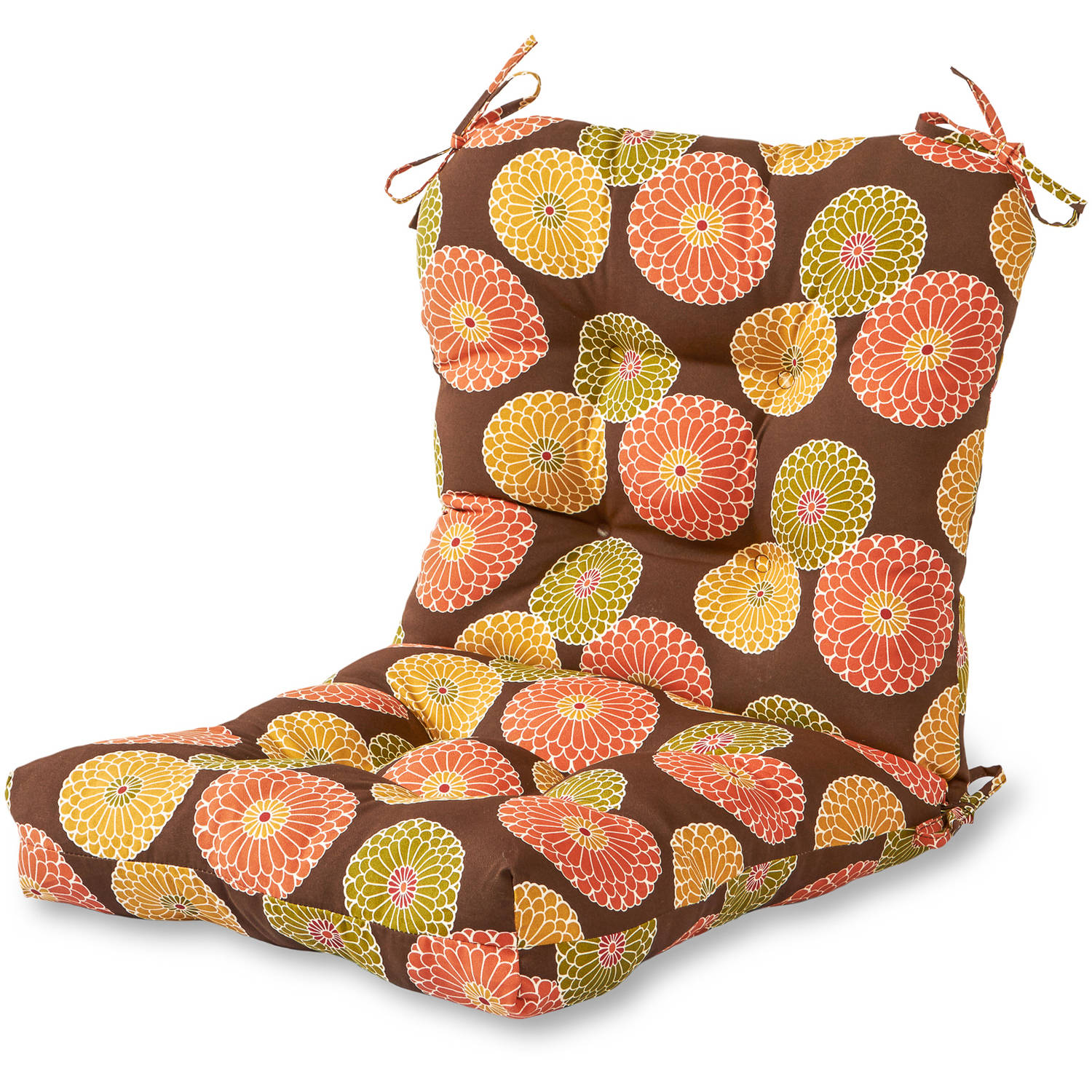Greendale Home Fashions Outdoor Seat/Back Chair Cushion, Flowers on Chocolate
