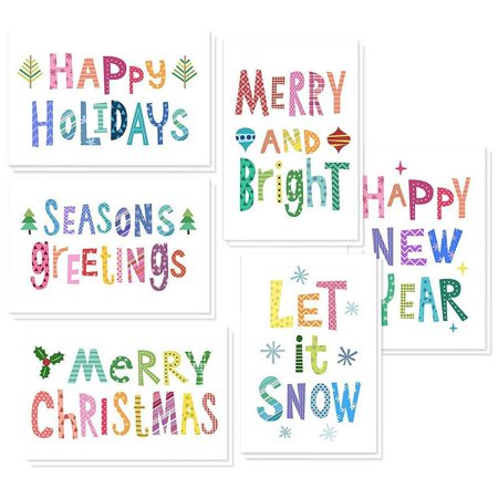 48 Pack of Christmas Winter Holiday Family Greeting Cards - Bright Christmas Saying's Designs - Boxed with 48 Count White Envelopes Included - 4.5 x 6.25 Inches ()