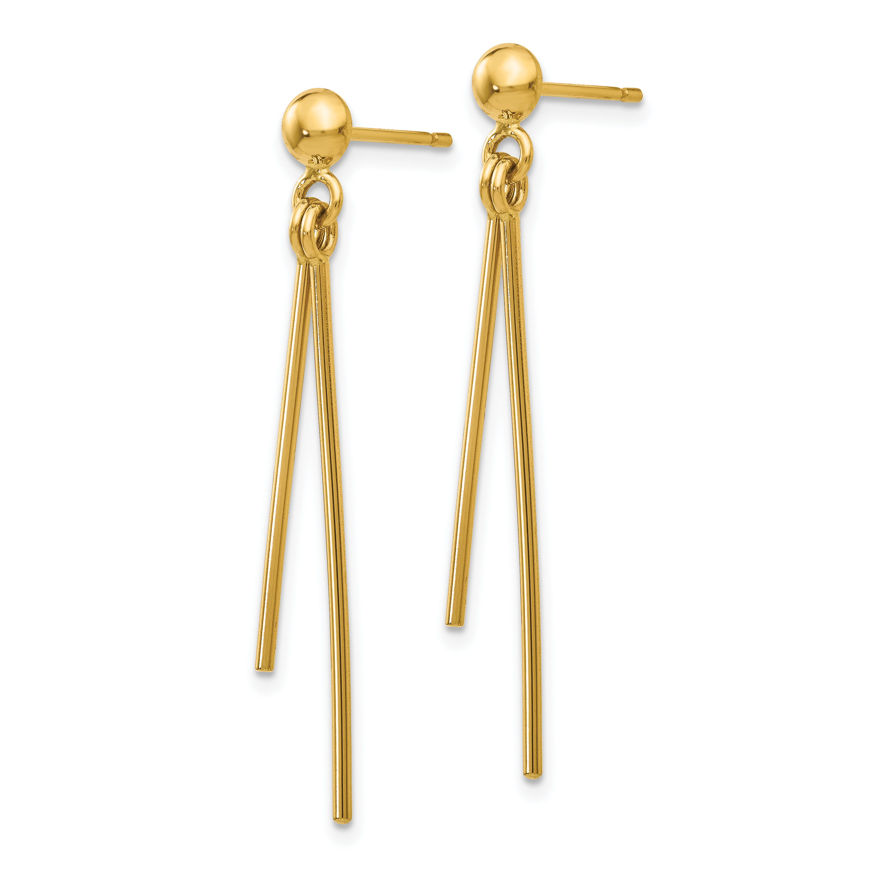 14k Yellow Gold Post Stud Drop Dangle Chandelier Earrings Fine Jewelry Gifts For Women For Her - image 1 of 3