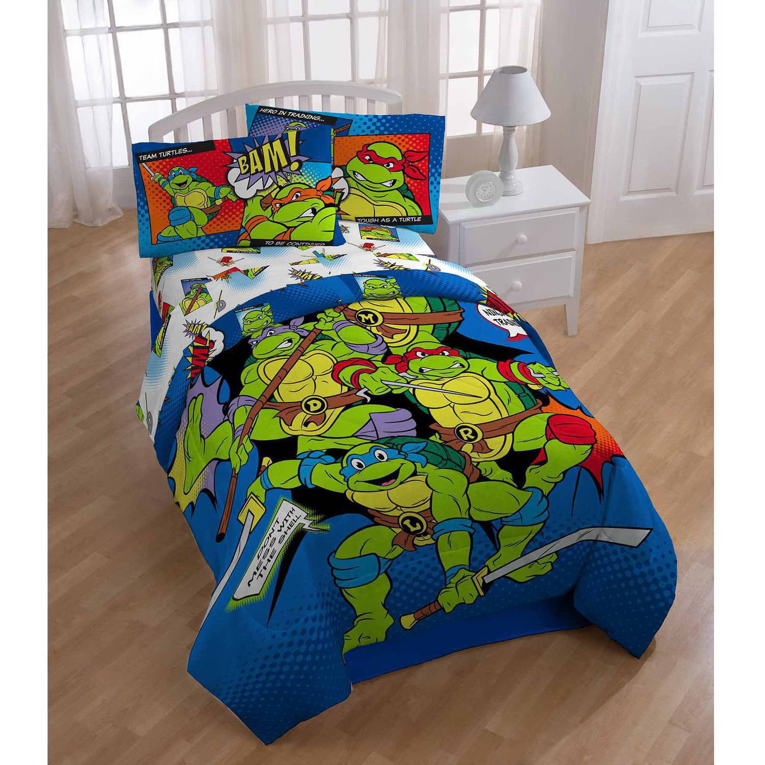 Avengers bedding set twin - Teenage Mutant Ninja Turtles Bam Kapow Twin Full Comforter Walmart Com