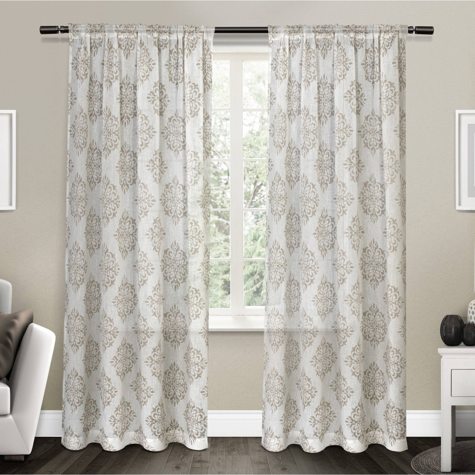 "Nagano Belgian Linen Medallion Print Rod Pocket Window Curtain Panel Pair, Taupe, 54""... by Exclusive Home"
