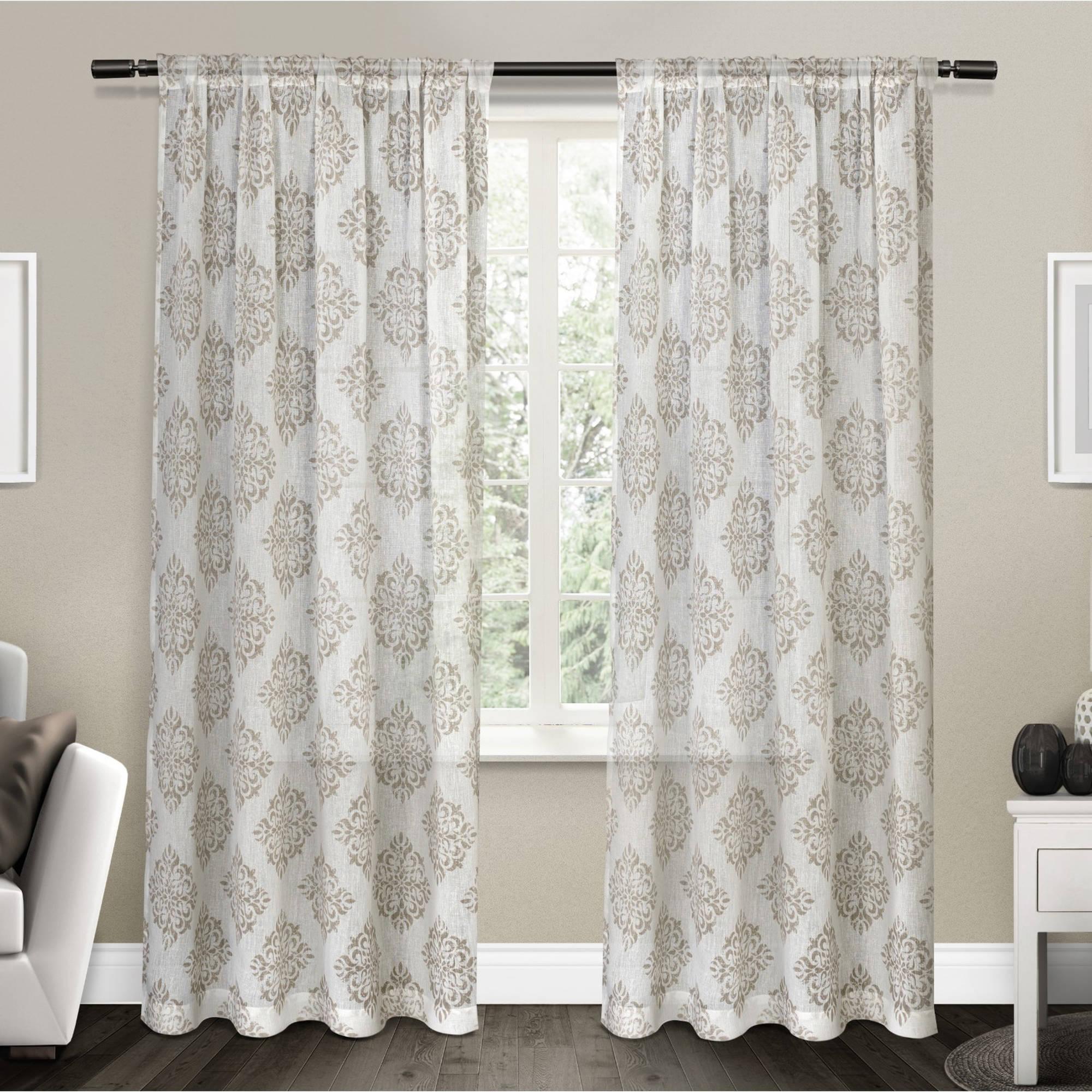 "Nagano Belgian Linen Medallion Print Rod Pocket Window Curtain Panel Pair, Taupe, 54"""