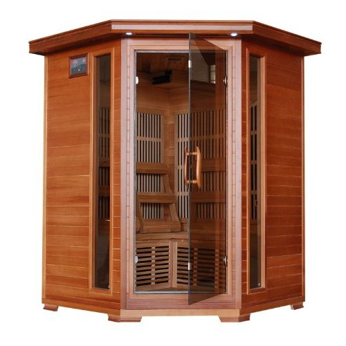 3 Person Sauna Corner Fitting Red Cedar Wood Infrared FIR FAR Carbon Heaters Walls and... by