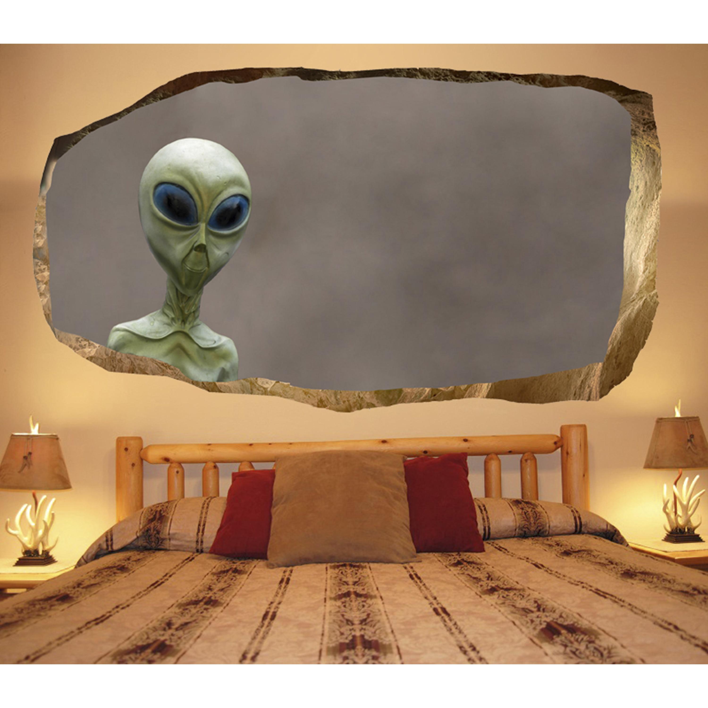 amusing bedroom wall decorating ideas   Startonight 3D Mural Wall Art Photo Decor Alien in my ...