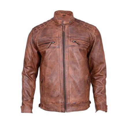 Men's Biker Vintage Distressed Motorcycle Cafe Racer Leather Jacket- Slim (Speed Racer Jacket)