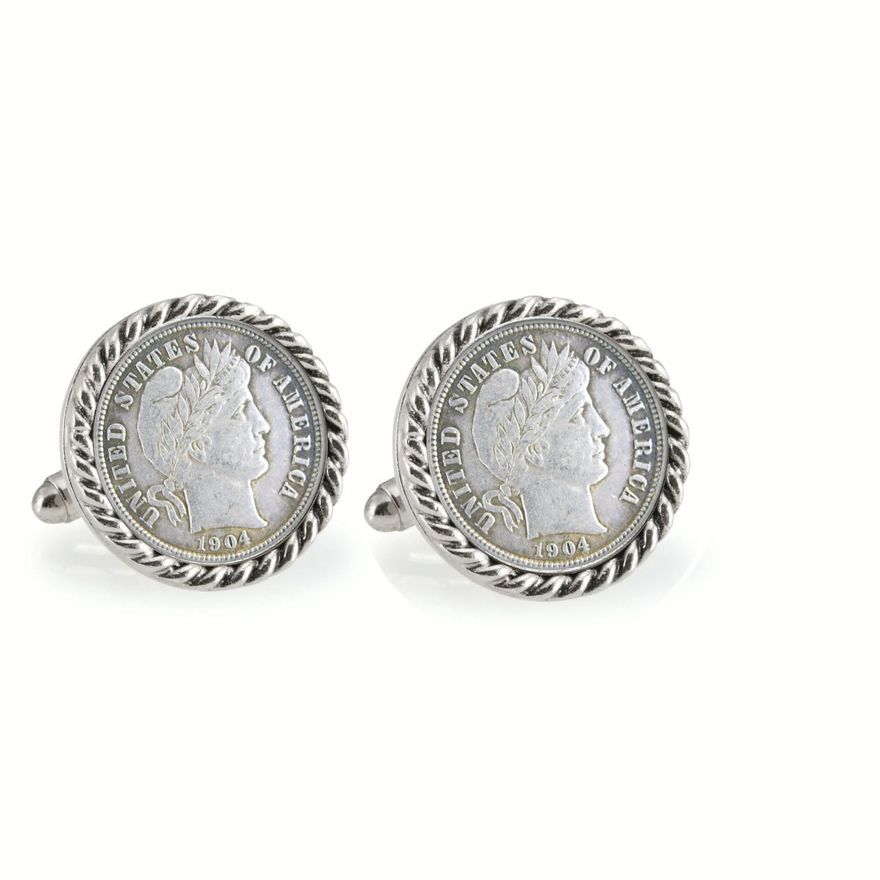 Silver Barber Dime Silvertone Rope Bezel Coin Cuff Links