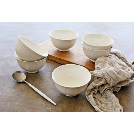 Porcelain Footed Bowl - overandback Porcelain Small Footed Noodle Bowl, set of 6, White
