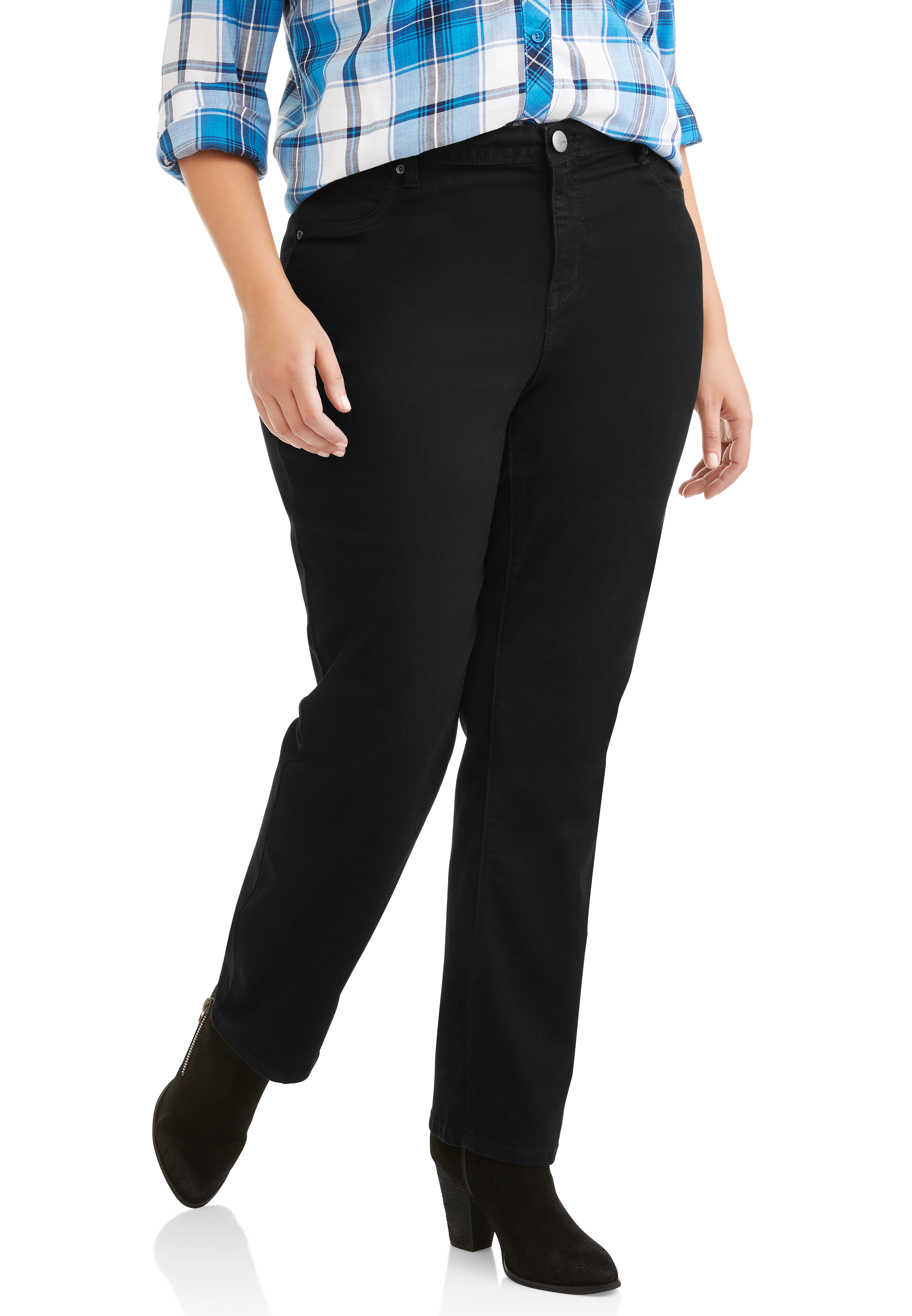 A3 Denim Women's Plus Curve-Enhancing Straight Leg Jeans