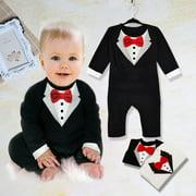New Baby Kid Boy Cotton Gentleman Jumpsuit Romper Bodysuit Clothes Outfit 4 Sizes