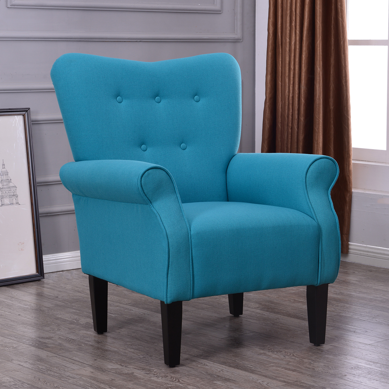 Belleze Living Room Wingback Armchair Modern Accent Chair High Back Linen, Mallard Teal by Belleze
