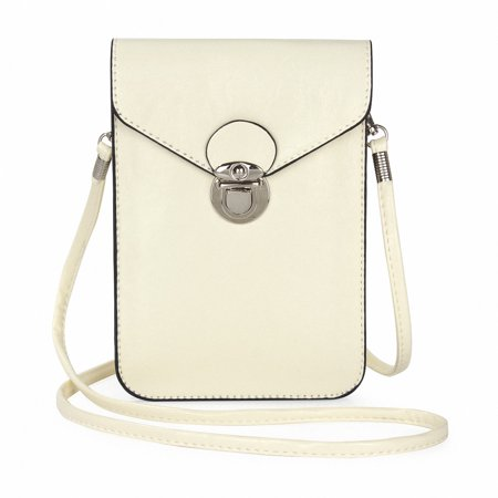 """Crossbody Purse And Handbags Mini Cellphone Pouch Wallet Bag, Allytech Universal Cell Phone Bag For for iPhone XR XS X 8 7 6/6S Plus Samsung Galaxy S9 S8 S7 S6 Note 9 8 (Under 6.3"""") - White"""