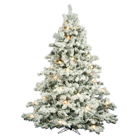 flocked alaskan full pre lit christmas tree - Pre Lit Christmas Trees