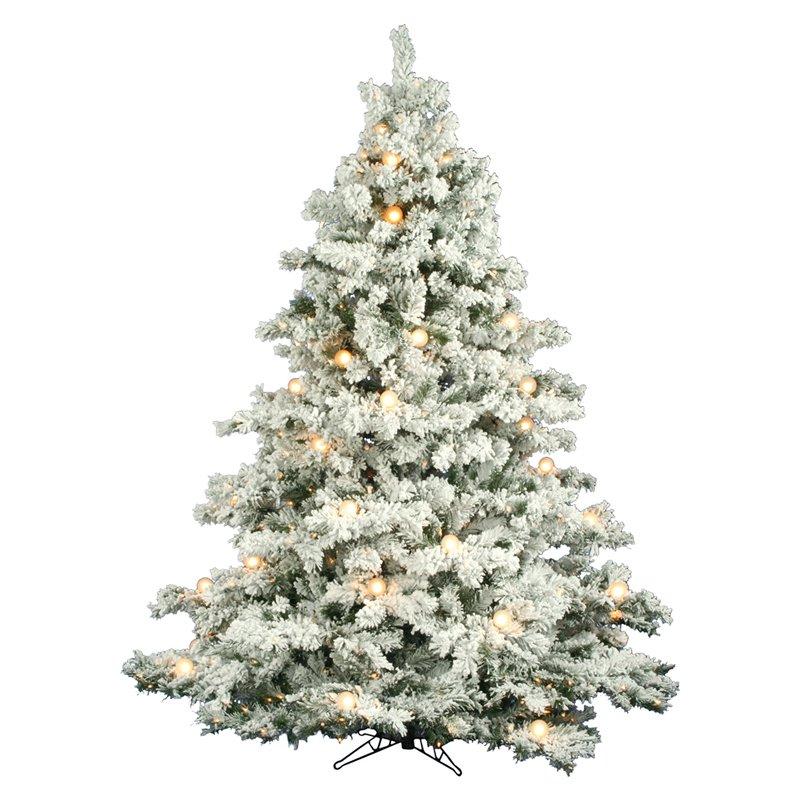 flocked alaskan full prelit christmas tree - Prelit Christmas Trees