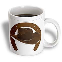 Brown Large Mug (3dRose Large Brown Horseshoe With Brown Cowboy Hat, Ceramic Mug,)