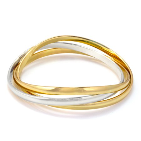TAZZA WOMEN'S GOLD AND RHODIUM INTERLOCKED BANGLE BRACELET - Gold Bangle