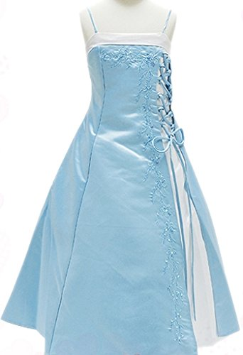 Flower Girl Dress Caviar Beaded Flower with Croset Tied on Side Baby Blue 10 HC1099