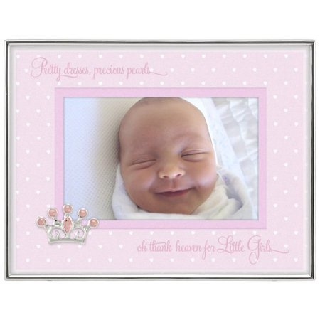 Baby Sentiments Girl Pink Mat With Silver Jeweled Crown Attachment Metal Shadowbox Picture Frame, 4x6, Silver, Holds one 4x6 Photo By Malden International Designs ()