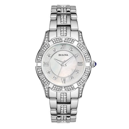 Bulova Women's Stainless Steel Crystal Watch 96L116 Bulova Bangle Steel Ladies Watch