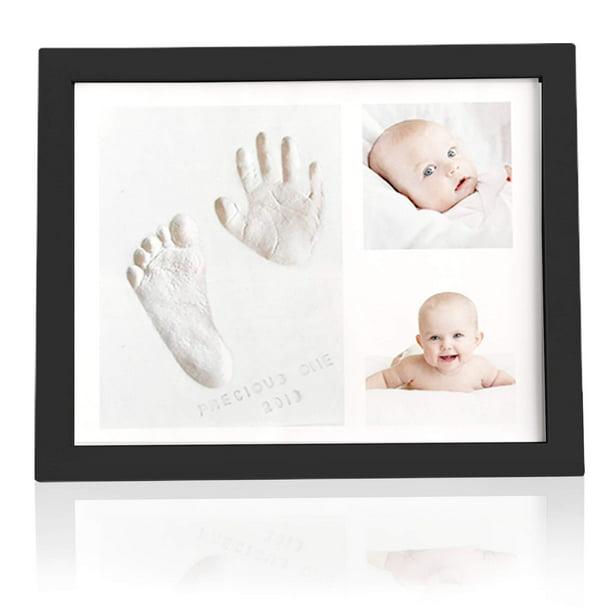 Baby Shower Picture Frames Boys,Girls Baby Prints Photo Frame for Newborn Baby Handprint Footprint Keepsake Kit Baby Nursery Memory Art Kit Frames Onyx Black Perfect Baby Registry Gift Box