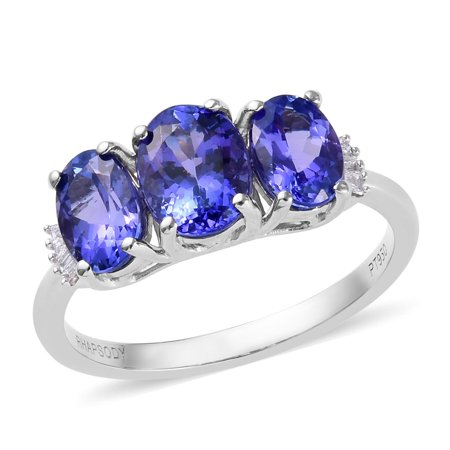 Rhapsody 950 Platinum AAAA Premium Diamond Blue Tanzanite Baguette Statement Promise Ring Women Jewelry Gift for Her Ct 2.6 E-F Color VS1-VS2 Clarity