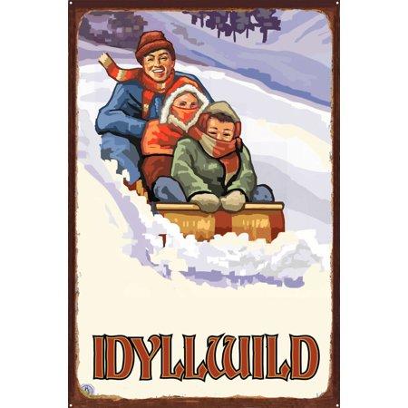 Idyllwild California Family Sledding Rustic Metal Art Print by Paul A   Lanquist (24