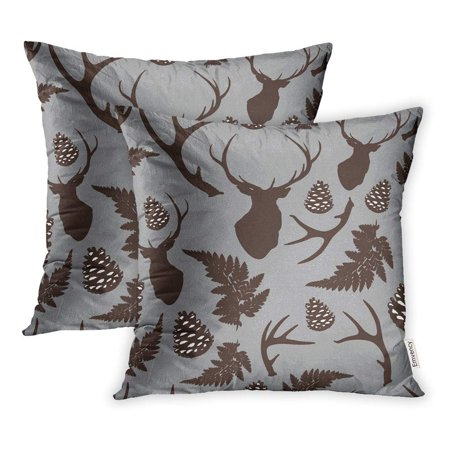 ARHOME Brown Animal Forest Deer Antler Pine Cones Fern on Gray Christmas Autumn Pillow Case Pillow Cover 20x20 inch Set of 2