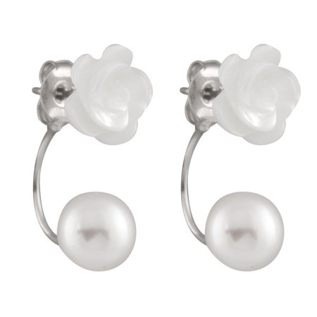 925 Sterling Silver Earrings 9.5-10mm Button Handpicked AA Quality Cultured Freshwater Pearls 10mm Mother of Pearl Flower