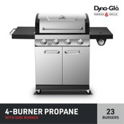 Dyna-Glo Premier 4 Burner Propane Gas Grill w/ Side Burner - Stainless Steel Outdoor Propane BBQ