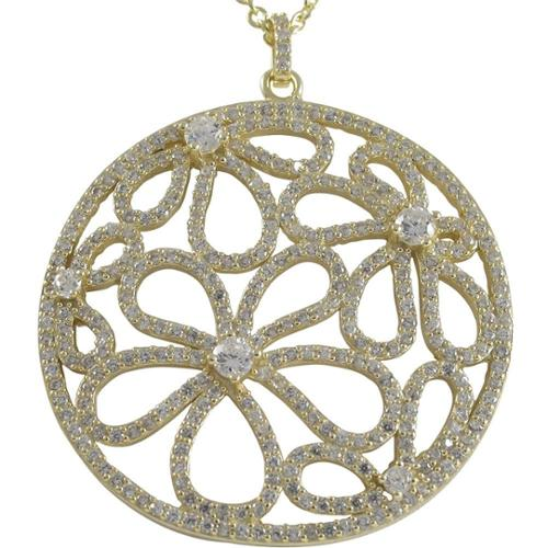 Luxiro Luxiro Sterling Silver Gold Finish CZ Flowers Filigree Circle Pendant Rose Gold