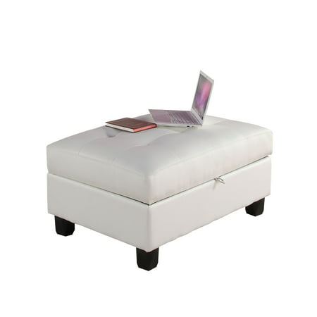 ACME Kiva Storage Ottoman, White Bonded Leather Match