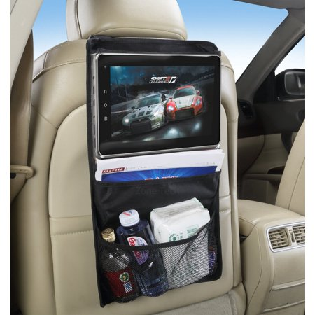 Zone Tech Headrest Backseat Convenient Traveling Automobile Storage Organizer With Touch Screen Accessible iPad and Tablet Pocket