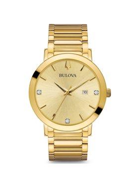 Bulova Men's Modern Yellow Gold Steel Bracelet Diamond Watch