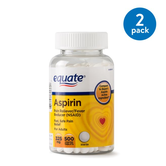 (2 Pack) Equate Pain Relief Aspirin Coated Tablets, 325 mg, 500 Ct
