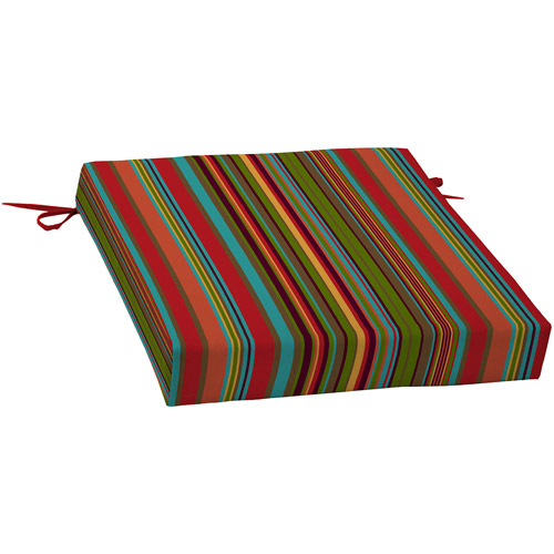 Mainstays Dining Seat Outdoor Cushion, Bright Stripe