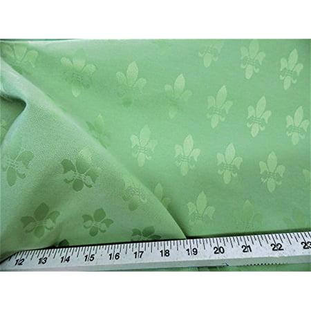 Discount Twill Tablecloth Fabric Jacquard Fleur de Lis Mint Green