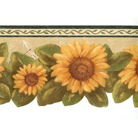 878445 sunflower dragonfly wallpaper border