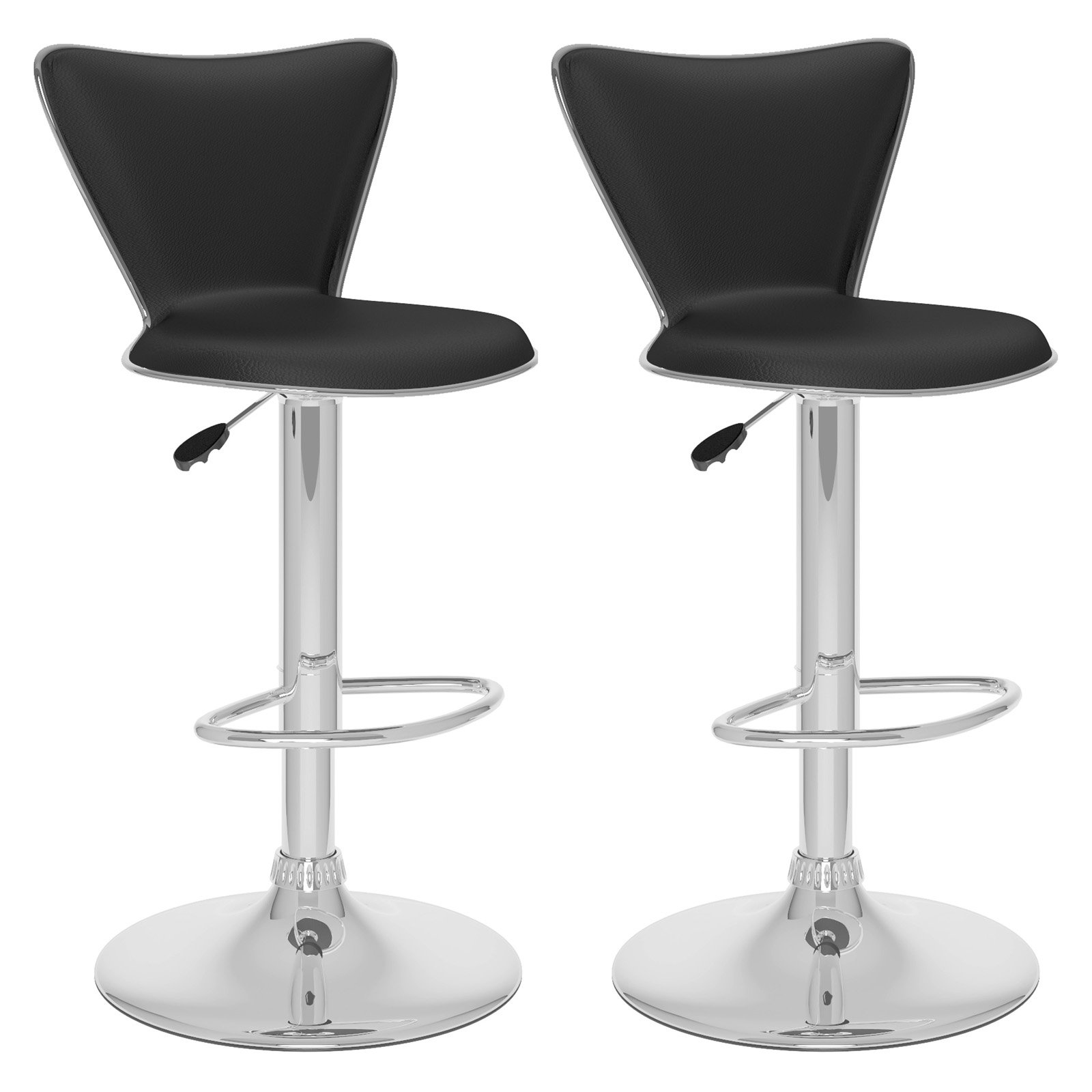 CorLiving Tall Curved Back Adjustable Barstool, set of 2