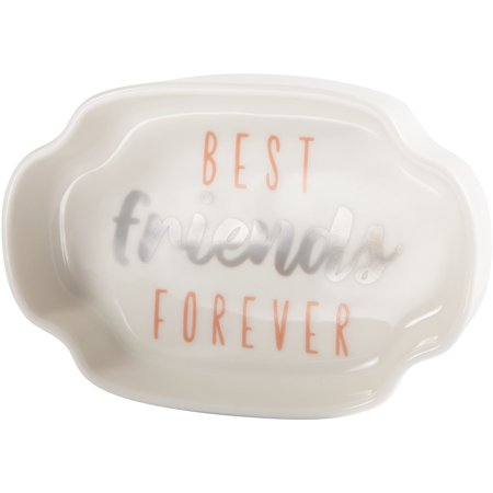 Pavilion - Best Friends Forever - Pink & Silver - 4 Inch Mini Jewelry Dish with Gift