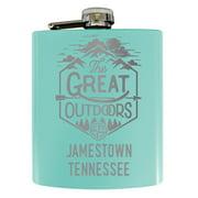 Jamestown Tennessee Laser Engraved Explore the Outdoors Souvenir 7 oz Stainless Steel 7 oz Flask Seafoam