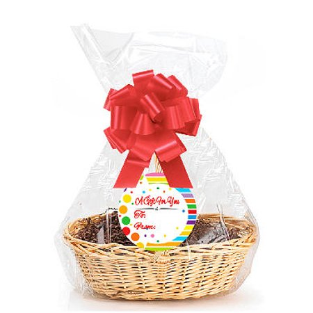 """Rainbow  2Pack Designer Cello Bags / Tags / Bows Cellophane Extra Large Gift Basket Packaging Bags Flat 25"""" X 30"""""""