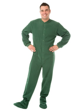 Big Feet PJs Green Micro-polar Fleece Adult Footed Pajamas NO Drop Seat Sleeper